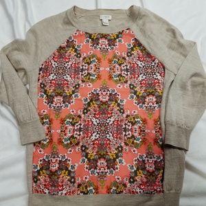 J Crew floral  sweater XS